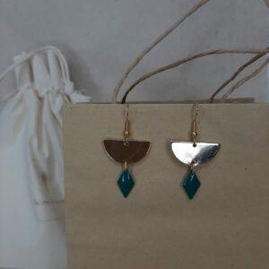 Boucles d'oreilles Lili bleu pétrole Créatrice comme une plume