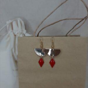 Boucles d'oreilles Lili rouge Créatrice comme une plume
