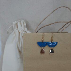 Boucles d'oreilles Mégane bleu demin Créatrice comme une plume