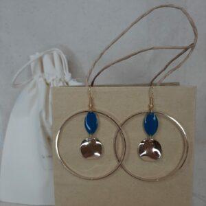 Boucles d'oreilles Louise bleu roi Créatrice comme une plume
